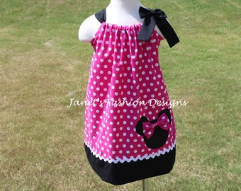 Pink Minnie Mouse Pillowcase Dress - Minnie Mouse Polka dots Pillowcase Dress - Fashion Pillowcase