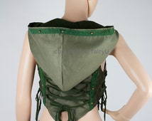 Steampunk large hoodie vest (velvet) - Fata (0032)