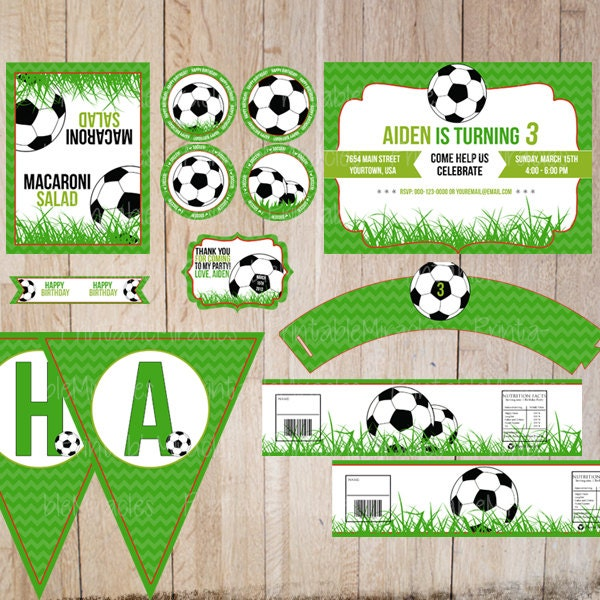 Soccer birthday party kit / Printable party by MyPrintableMiracles