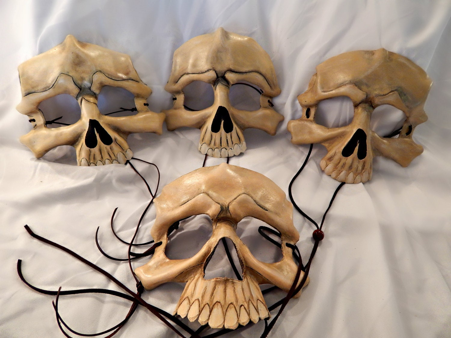 Painted Bone Leather Skull Half Masks by GriffinForge on Etsy