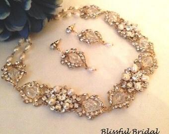 Gold Wedding Necklace Set, Gold Jewelry set, Gold Pearl Necklace Set, Gold Bridal Necklace and Earrings, Gold Bridal Set