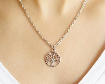 silver tree of life necklace handmade necklace fashion jewellery tree necklace silver necklace gift for women tree charm necklace
