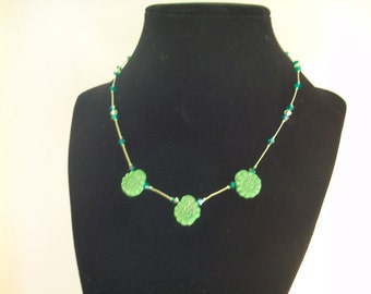 Vintage green Czech flower, Swarovski crystal, knotted choker