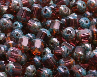 "25pcs Czech Fire-Polished Faceted Glass Beads Round ""Lantern"" 8mm Amethyst Travertin"