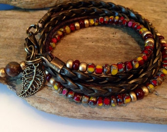 Wrap Bracelet,Beaded Leather Wrap, 2X Multi Wrap, Leather, Seed Beads, Red/Burgundy/Gold, Yellow, Brown, CHOOSE your CHARM! Custom Made