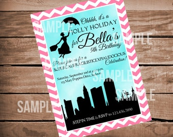 Mary Poppins Jolly Holiday Birthday Invitation with Chevron