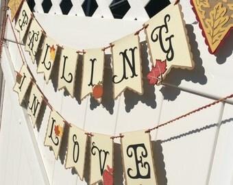 SHOWER/Wedding Banner - Falling in Love Banner - Fall Wedding Banner - Wedding Garland, Wedding Decor,Garland, Handmade Wedding Banner