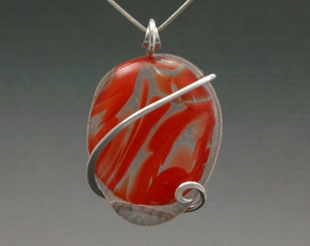 Red Glass Cold Forged Pendant