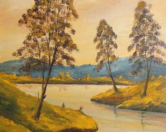 Vintage oil painting landscape river & trees