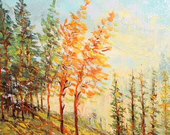 Vintage oil painting forest landscape