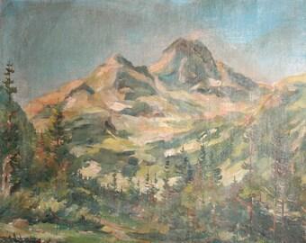 Vintage Impressionist Oil Painting,Mountain Landscape