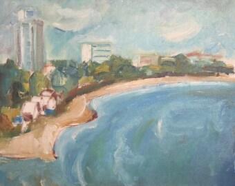 1950's Oil painting landscape seascape signed