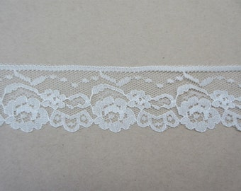 "Cream Lace Trim Ribbon 1 7/8""  inch wide Floral Lace Flower Sewing Trim Scrapbook Card Decoration Wedding Lace Gift Wrap Gift Basket WL062"