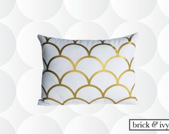 Metallic Gold Scallop Scales Monogram Pillow Cover