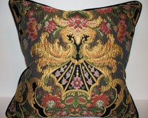 Aubusson Tapestry Lampossa Chenille Pillow with Stark Black Suede for reverse. Down Feather insert included.