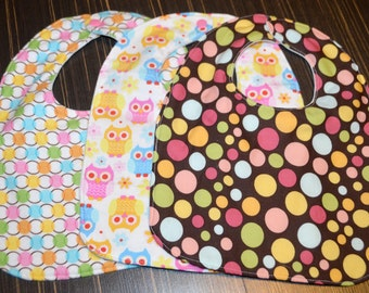 3 piece bib set Owl & Polka Dots (3 layers with snap closure) Pink,Brown,Green,Blue, Yellow, and Orange