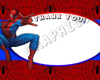 Spiderman 4x6 Thank You Card - Printable