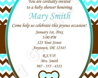 Baby shower invitation (Blue) - Printable