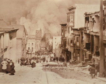 1906 earthquake of San Francisco resulting fire. Photographic print of vintage image