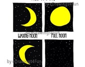 The Moon. Clip Art. Printable Digital Artwork. Print on T-shirts, mugs, calendars, posters. For gifts.