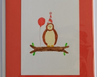 Hand Painted Owl Birthday Card with Envelope: Red 5 x 7