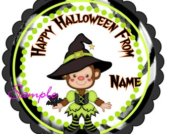Halloween Stickers, Gift Tags Personalized Labels, Halloween Favor Stickers Halloween Trick or Treat cute witch monkey