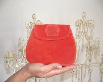 Mini coral brushed leather pouch.