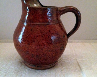 Late 19th Century Redware Pitcher/Unusual Spout