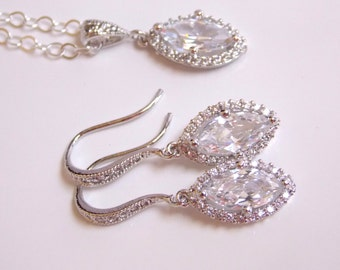 Wedding Jewelry, Sterling Silver, Cubic Zirconia, Bridal Jewelry, Bridal Earrings and Necklace Set, Bridesmaid Earrings, Dangle, Bride Gifts