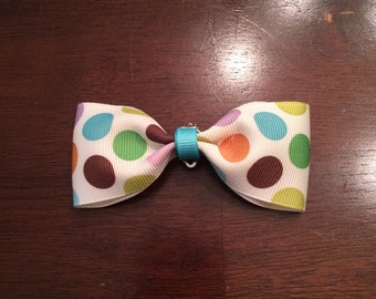 Little boys polka dot clip on bowtie