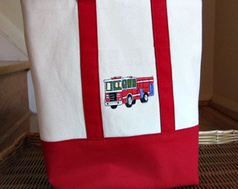 Fire Truck Red Canvas Tote Bag Embroidery Handmade