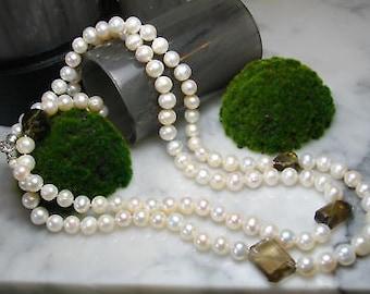 TOM K XL pearl necklace smoky quartz pendant Ring gems Luxury precious stone