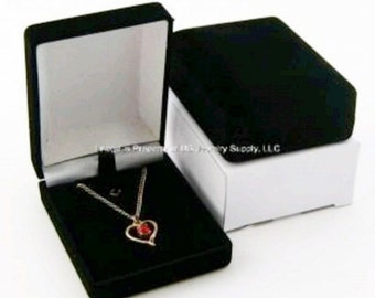 6 Black Velvet Pendant Chain Jewelry Display Gift Boxes