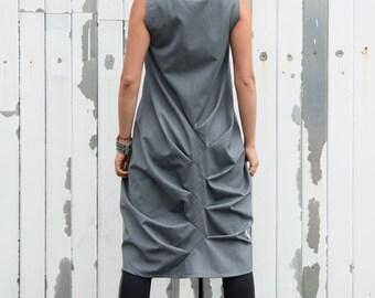 Grey Loose Casual Tunic / Asymmetric Long Top / Grey Maxi Dress / Modern Vest Dress by METAMORPHOZA