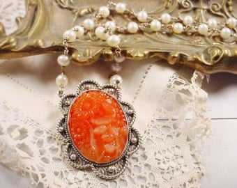 Vintage Carnelian Glass Floral Stone Necklace with Handwrapped Genuine Pearls in Sterling Victorian Boho Style OOAK