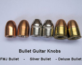2 Bullet Guitar Knobs - FMJ, Silver OR Deluxe