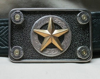 Bullet Belt Buckle Lawman Nickel 308 Winchester with Texas Star