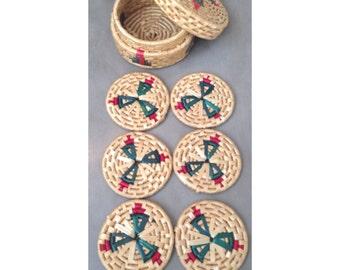 Set of 6 Vintage Coasters and basket holder