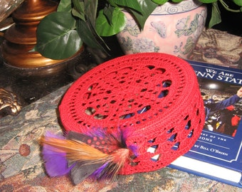 Red Hat Pillbox with purple feather