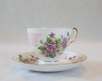 Vintage Pink and Purple Floral Teacup