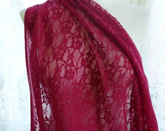 Sold out!  Stretch Red Lace Fabric by the Yard, Lace by the Yard, Red Lace Yardage