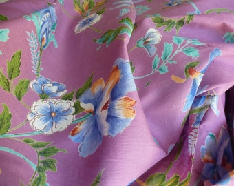 Lilac with Colored Flowers Cotton Fabric by the Yard, Cotton Yardage, Fabric by the Yard
