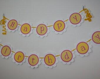 Pink & Yellow Happy Birthday banner