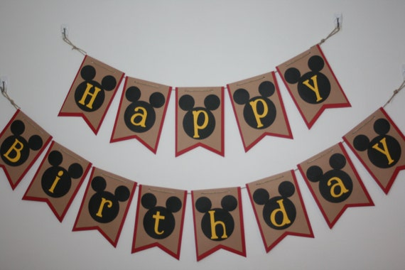 red  black  yellow happy birthday banner mickey mouse shape