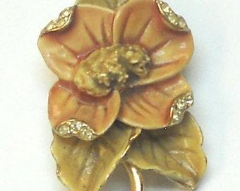Vintage Brooch Flower and Leaves in Pale Orange and Tan