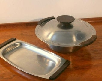 1960s Mid Century Danish Rosewood and Stainless Steel Serving Set