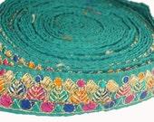 2.5cms Ribbon Trim Teal Lace Sari Border Silk Thread Embroidery Gold work, Sewing, Scrapboking,Craft, Handicraft, Boho, Gypsy-LAC900027
