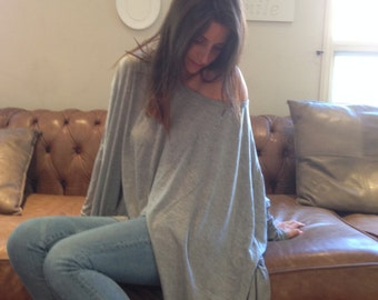 Loose Shirt / Oversize Gray Women Shirt  / Long sleeve Blouse / Yoga