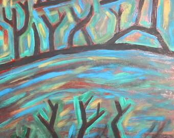 Vintage oil painting expressionist cubist landscape
