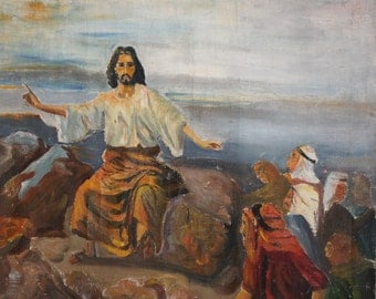 1976 religious oil painting Jesus Christ signed